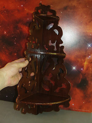 Wood Corner 3 Tier Shelves Shelf Wall Mounted Knick Knack Scroll Cut Out Vintage