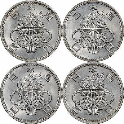1964 Japan 100 Yen, Lot of (4) Olympic Coins