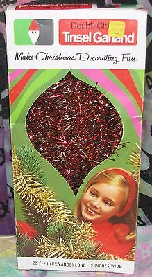"""Vintage Doubl-Glo Red & Gold TINSEL GARLAND 25' x 2"""" Holiday Christmas Tree NEW"""