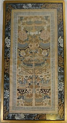 Chinese Silk & Gold Thread Embroidery Sleeve Panel. Qing dyn. 1880-1908. 24 x 12