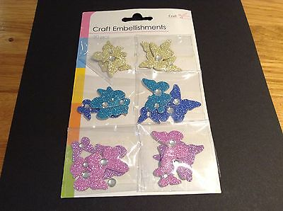 1 BRAND NEW PACK Of 30 EMBELLISMENTS In Butterflies  Inassortedcolours