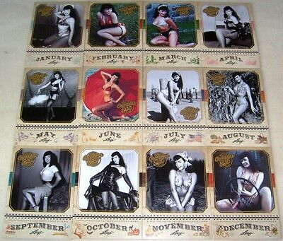 Bettie Betty Page Calendar Girl 2014 Leaf Benchwarmer Lot Complete Set Nice