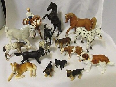 Lot of Schleich Horses Ponies Dogs Puppies - Includes Cowboy on Horse w/ Tag