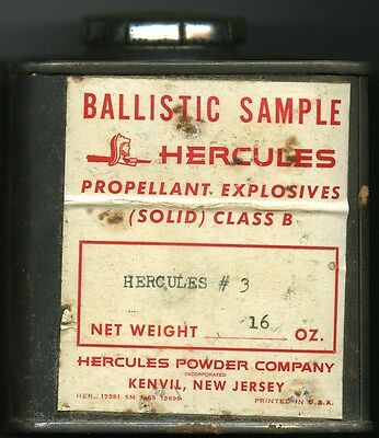 Vintage Hercules Powder #3 RARE Ballistic sample Can (EMPTY)