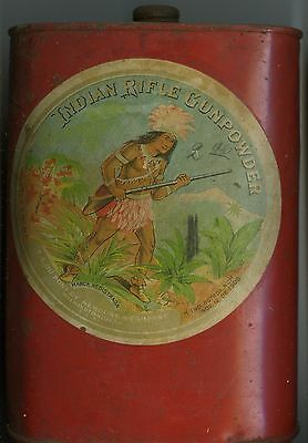 Vintage Indian Rifle Gunpowder Tin (EMPTY)