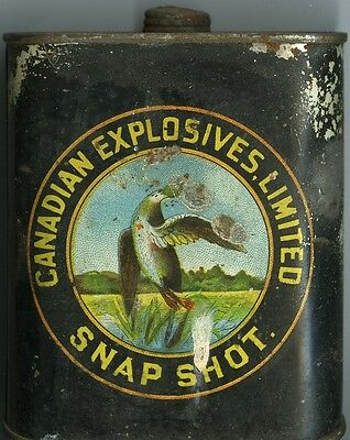 Vintage Canadian Explosives Ltd Snap Shot Gunpowder Can (EMPTY)