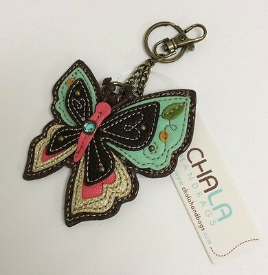 Chala  Colorful New Butterfly Key Chain Charm FOB Ring Coin Purse New