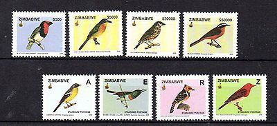 set of 8 mint bird themed stamps from zimbabwe