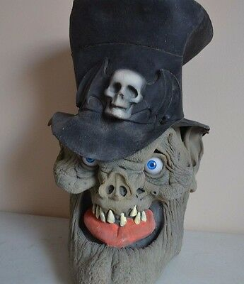 USED Vintage Halloween Creepy SKELETON WITH TOP HAT VINYL MASK PROP