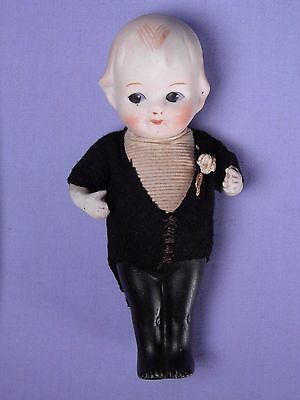 Old Jointed All Bisque Doll Japan Googly Type Wedding Groom BIG Eyes Boy