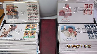 Vintage Set 100 BABE RUTH 1st Day of Issue Stamp BOOK 1982, 1983, 1984 LOT MORE