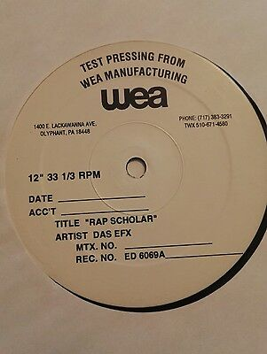 "DAS EFX FT REDMAN- rap scholar TEST PRESSING 12"" hiphop"