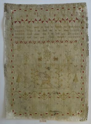 "Vintage Lt. 18th/19th c. Finely woven Needlework Sampler. 17 3/4"" x 13""."