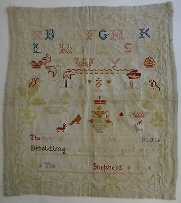 "Large Antique Needlework Sampler. 25"" x 23"" sampler w/alpha +.  Early 19th c."
