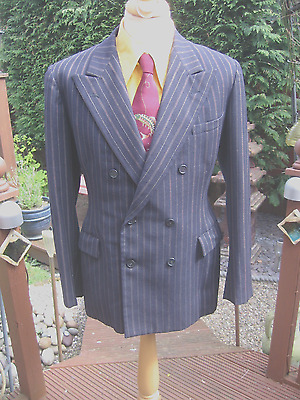 Original Vintage 1938 Double Breasted Pinstrip Suit 41/42 Chest