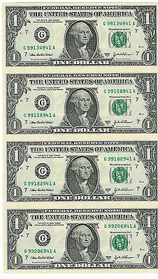 Uncut Sheet Of Series Of 2003 A $1 Federal Reserve Notes Chicago IL Branch