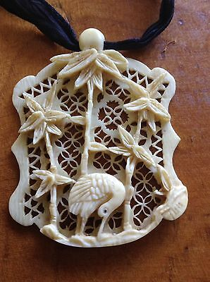 Victorian Vintage Chinese Carved Bovine Pendant Of A Bird