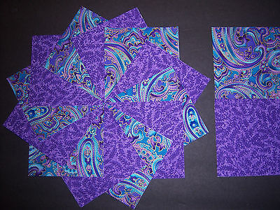 "*40* Purple and Turquoise Paisley 4""  Quilt Quilting Squares Cotton Fabric***USA"