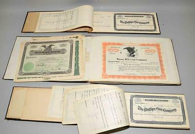 COLLECTION OF ANTIQUE STOCK CERTIFICATES. Most are the Phillips Gas ... Lot 1314