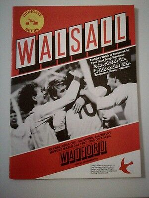 Walsall v Watford FAC 5th round 2nd replay 2/3/87 programme