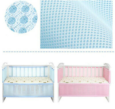 130*70cm Blue Breathable Infant Baby Bed Mesh Bumper Crib Liner Protection Pad U
