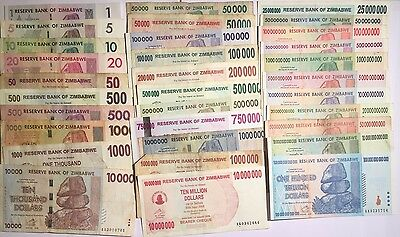 HUGE 32 Banknote Zimbabwe Dollars Collection *incl. 100 Trillion UNC*