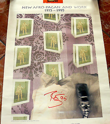 David Bowie  Hand Signed Afro Pagan Work Poster 1995 Limited Edition  Manifesto
