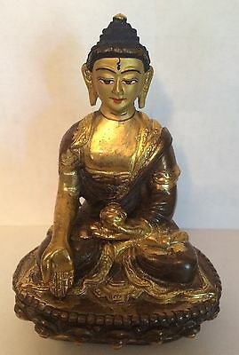 "VTG Tibetan Buddah Gold Gilt Bronze Shakyamuni Statue Marked  4"" Old"
