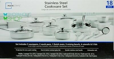 Kitchen Mainstays Stainless Steel 18-Piece Cookware Set Skillets Pans Pots NEW