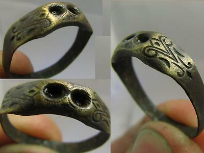 Rare  Bronze Medieval Ring With Ornament #6215
