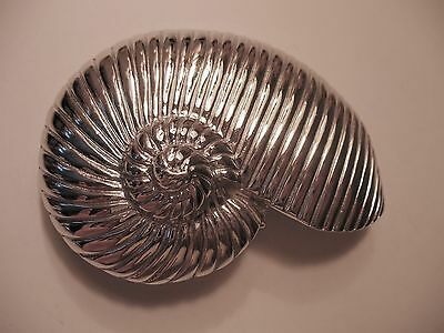 Silver Tone Fashion Nautilis Buckle Shell Look Belt Buckle 2 Piece Buckle