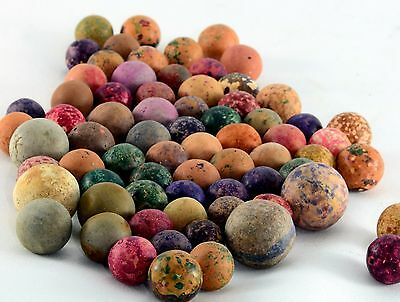 Antique Clay Earthenware Marbles 65 Count