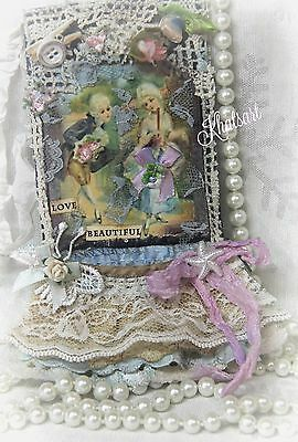 * MARIE ANTOINETTE * Lace Tag for Collage Book Mixed Media Handmade By: KHATSART