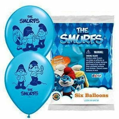 """6 x 12"""" The Smurfs Latex Birthday Party Balloons Helium Quality"""