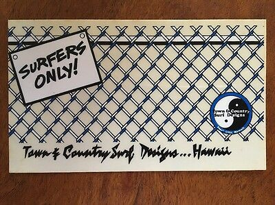 SURFERS ONLY T&C Surfboards Town Country Surf Hawaii Vintage Surfing Sticker Sk8