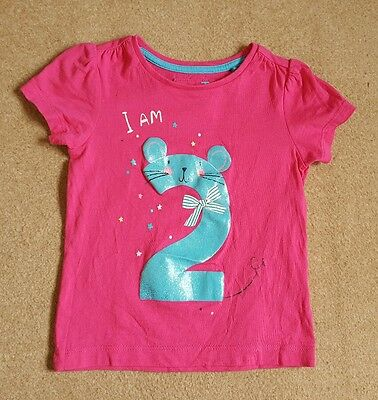 "Baby girl TU pink ""I am 2"" birthday tshirt 18-24 months"
