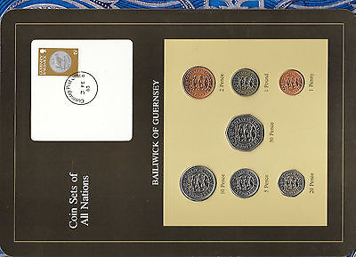 Coin Sets of All Nations Guernsey Brown 1979-1982 UNC £1 1981 Lily