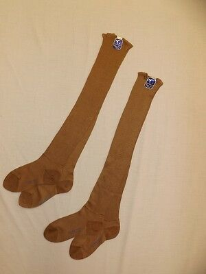 Vtg 1930s NEW 2 Pr Crescent Brown Cotton Rayon Knee Hi Hosiery Socks Misses XS/S