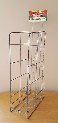"""VTG Coca Cola Coke Wire Rack w Tin Sign Store Display Approx. 46"""" Tall"""