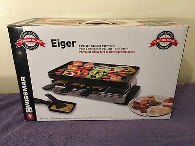 NEW NIB Swissmar Classic Raclette 8 Person Party Grill with Cast Iron Plate