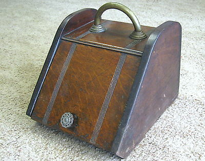 VICTORIAN Antique ENGLISH WOODEN COAL / ASH SCUTTLE with BRASS HANDLE