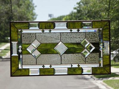 """• Classic Olive  •Beveled Stained Glass Window Panel • 28 1/2 """"x15 1/2""""(72x39Cm)"""