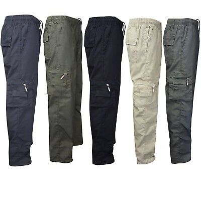 Mens Elasticated Plain Summer Trousers Cotton Cargo Combat Work Casual Pants