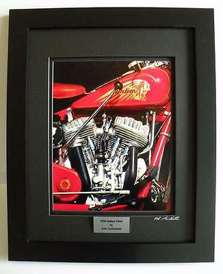 Indian Chief Motorcycle Art Signed Ltd Edition Framed Print w/COA by Guillemette