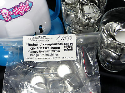 100 30mm Badge It! compatible size Refill Badge Components