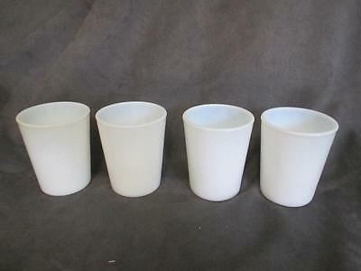 WHITE OPALESCENT MILK GLASS 4 TUMBLERS JUICE GLASSES el2