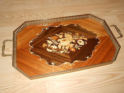 Vtg Italy Brass and Inlaid Wood Marquetry Floral Italian Serving Tray Platter