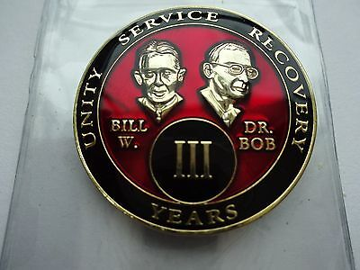 AA Bill&Bob Red Gold 3 Year Coin Tri-Plate Alcoholics Anonymous Medallion Sober