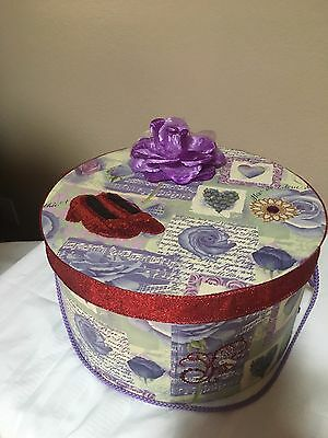 "Large hat box 15"" vintage sequin slipper applique"