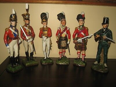 Set of 6 Sitzendorf porcelain soldiers - Officers of British Army Napoleon time